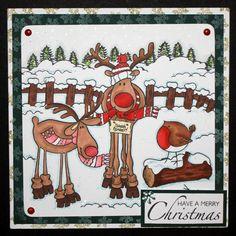 <p> Santa's Reindeer Clear Stamp Set 16 designs. Designed by Sharon Bennett</p>
