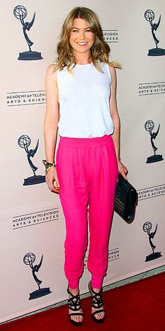 Ellen Pompeo, the Grey Anatomy star in magenta trousers paired with white sleeveless top and classic sandals.