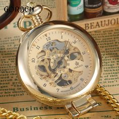 404f26377 promo luxury gold mechanical pocket watch mens roman arabic numberal  steampunk mechanical pocket #antique #