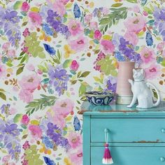 All of our wallpaper samples are in size and show the cut from the selected design shown in image and information including design repeats, roll widths and pack sizes are also included The Wisteria Garden mural features F Hand Painted Wallpaper, Watercolor Wallpaper, Grey Wallpaper, Painting Wallpaper, Wallpaper Samples, Watercolor Design, Floral Watercolor, Wallpaper Ideas, Watercolour