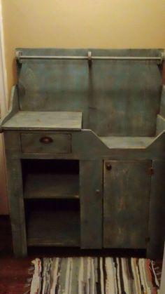 Primitive Handcrafted Dry Sink (Mason Jar Blue) #primitivecountry                                                                                                                                                                                 More