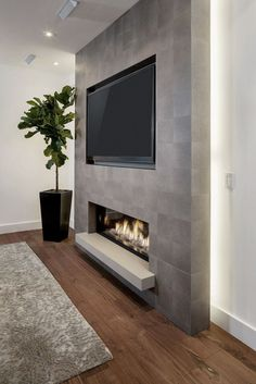 Tv Above Fireplace, Home Fireplace, Fireplace Remodel, Living Room With Fireplace, Fireplace Design, Fireplace Modern, Fireplace Ideas, Fireplace Hearth, Fireplaces With Tv Above