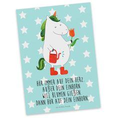 Postkarte  Einhorn Gärtner aus Karton 300 Gramm  weiß - Das Original von Mr. & Mrs. Panda.  Diese wunderschöne Postkarte aus edlem und hochwertigem 300 Gramm Papier wurde matt glänzend bedruckt und wirkt dadurch sehr edel. Natürlich ist sie auch als Geschenkkarte oder Einladungskarte problemlos zu verwenden. Jede unserer Postkarten wird von uns per hand entworfen, gefertigt, verpackt und verschickt.    Über unser Motiv  Einhorn Gärtner  Ein Einhorn Edition ist eine ganz besonders liebevolle…
