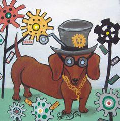 """Steampunk Doxie"" New Original Painting J Ellison Art"