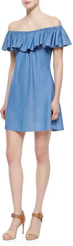 Alexa Chung for AG Adriano Goldschmied The Honey Ruffle Off-the-Shoulder Dress