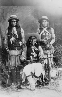 White Mountain Apache scouts, left to right as Luca, Skro Kit and Shus El Day:
