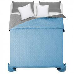 Obojstranné modro sivé prehozy na manželskú posteľ 200 x 220 cm - domtextilu. Hotel Bed, Bedding Sets, Luxury, Furniture, Home Decor, Beautiful, Bed Linen, Home Furnishings, Interior Design