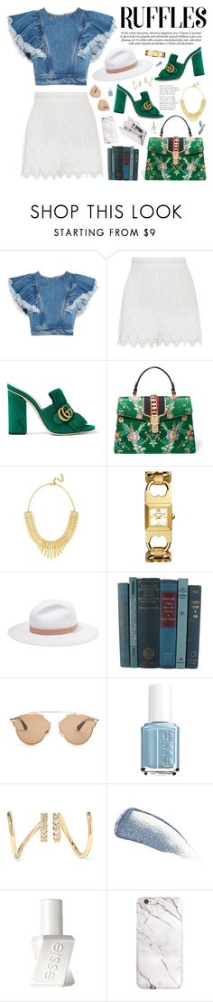 """""""Add Some Flair: Ruffled Tops No. 2"""" by almost-glamorous ❤ liked on Polyvore featuring Philosophy di Lorenzo Serafini, Zimmermann, Gucci, BaubleBar, Tory Burch, rag & bone, Christian Dior, Essie, Maria Black and Yves Saint Laurent"""
