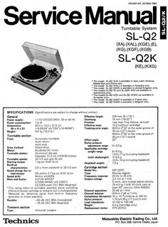 Technics SL-Q2 Turntable , Service Manual  * PDF format suitable for all Windows…