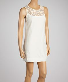 Look at this #zulilyfind! Off-White Crochet Silk-Blend Shift Dress by Aryeh #zulilyfinds