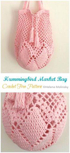 Hummingbird Market Bag Crochet Free Pattern- Market Grocery PatternsHummingbird Market Tote Bag Free Crochet PatternMeet Me at the Market Crochet Grocery BagSewing Pattern To Make A Reusable Grocery Bag - This… Bag Crochet, Mode Crochet, Crochet Market Bag, Crochet Handbags, Crochet Purses, Crochet Crafts, Crochet Stitches, Crochet Hooks, Crochet Bag Free Pattern