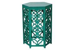 Flower Hexagonal Side Table, Green. at Abode