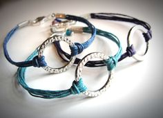 Simple harmony bracelets on linen cord $ 18 from JewelryByMaeBee on Etsy. >> Cute for summer!!!