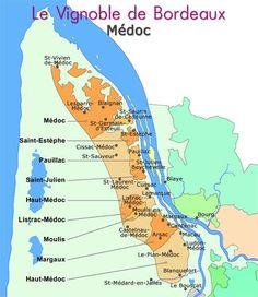 Medoc France | Carte des vins du médoc du vignoble de Bordeaux