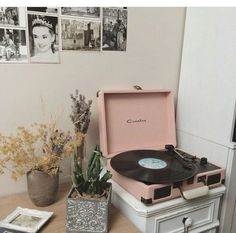 Vinyl with pastel pink, b & w prints & Audrey