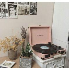 Vinyl with pastel pink, b & w prints & Audrey