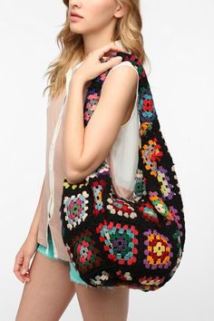 Urban Renewal Crocheted Hobo Bag - darks, lights, or brights
