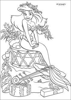 Dibujos para colorear - Princesas Disney (Navidad)