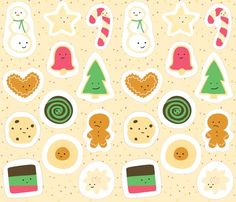 cookies for santa ornament panel by wildolive via Spoonflower
