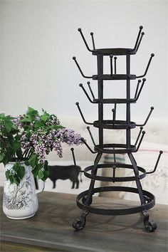 Antique Style French Bottle Drying Rack and Mug Tree, Vintage French Bottle Drying Rack, Rustic Kitchen, Cup Holder, Mug Holder