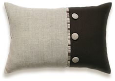 chocolate and beige linen pillow