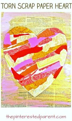 Torn scrap book paper heart craft for kids. Easy & pretty Valentine's mixed … Torn scrap book paper heart craft for kids. Easy & pretty Valentine's mixed media art project for preschoolers and kids. Fun Craft, Crafts For Kids, Newspaper Art And Craft, Newspaper Paper, Tears Art, Easy Art Projects, Torn Paper, Heart Crafts, Paper Hearts