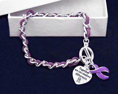 Leather Rope Purple Ribbon Bracelets (18 Bracelets)