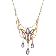 1895 Art Nouveau Enamel Pearl Amethyst Gold Necklace   www.1stdibs.com/ www.1stdibs.com/