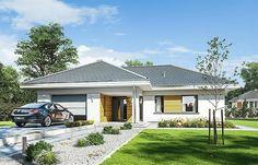 Projekt domu Parterowy 118,23 m2 - koszt budowy 184 tys. zł - EXTRADOM Beautiful House Plans, Beautiful Homes, Merlin Home, Design Case, Planer, Gazebo, Beach House, Garage Doors, Outdoor Structures