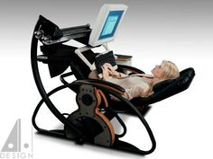 Supine workstation using a Relax the Back zero gravity recliner. Design by Alan Harp and fellow researchers at Georgia Tech.