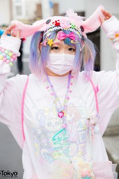 Harajuku decora girl with pastel hair and fashion, wearing sweatshirt with tutu, My Little Pony backpack, kawaii accessories & white mary-janes. Japanese Street Fashion, Tokyo Fashion, Harajuku Fashion, Pastel Goth Fashion, Kawaii Fashion, Colorful Fashion, Estilo Harajuku, Harajuku Girls, Mode Pastel