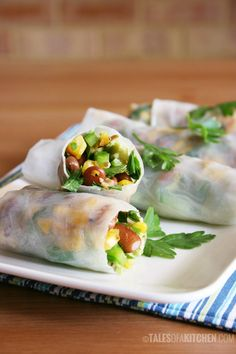 Bean Corn and Avocado Mexican Fresh Rolls are the funnest way to do fusion.