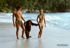 Tarzan, the Ape Man behind the scenes photo of Bo Derek & Miles O'Keefe.  O'Keefe is regarded by many (if not most) as the one actor who had the Tarzan body.