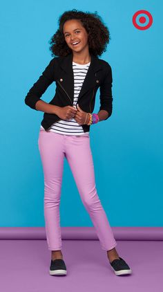 Colorful pants paired with classic patterns gives this back to school outfit a laid-back look.