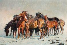 Alfred Roloff,  Wild Horses,  o/c