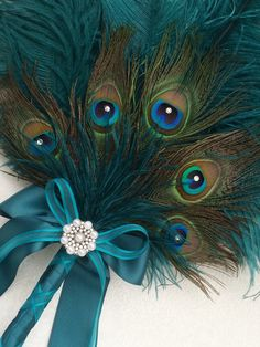 Ostrich and Peacock Feather Fan Bouquet in your choice by Ivyndell