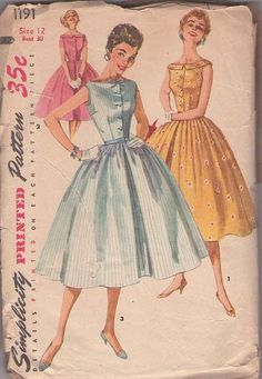 MOMSPatterns Vintage Sewing Patterns - Simplicity 1191 Vintage 50 s Sewing  Pattern LOVELY Rockabilly VLV Bateau Neck 97c669b81746