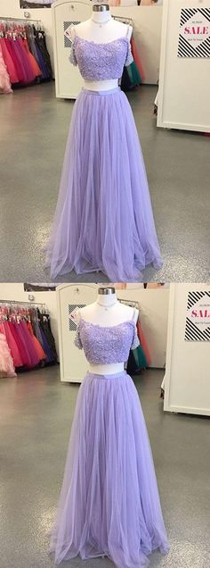 two-piece blue tulle long prom/evening dress #prom #promdress #promdresses