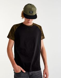 T-shirt with camouflage raglan sleeves - T-shirts - Clothing - Man - PULL&BEAR Canary Islands