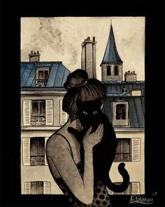 """Mi piace"": 841, commenti: 13 - Raphaël Vavasseur (@raphael.vavasseur.art) su Instagram: """" THE BLACK CAT OF PARIS "" Original painting by Raphaël Vavasseur My art portal:…"""