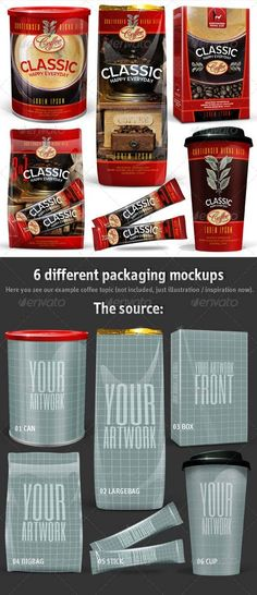 GraphicRiver 6 Coffee Packaging Mockups