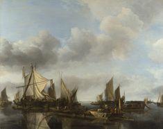 A River Scene with a Large Ferry | Jan van de Cappelle | oil painting #landsapes