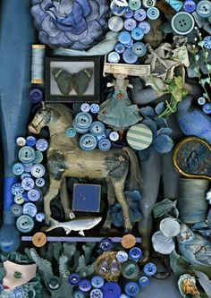 """Nostalgia: A Study in Color"", a series of photographs by the artist Claire Rosen who has created a visual study on the theme of nostalgia, & leads us into the memories of her childhood creating monochrome photographs with piles of objects. Monochrome, Fotografia Macro, Color Studies, Button Crafts, Art Plastique, My Favorite Color, Favorite Things, Shades Of Blue, Color Inspiration"