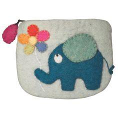 Elephant & Flower - Felt Coin Purse Fair Trade , Accessories - WildWoolies, Wild Dill - 1