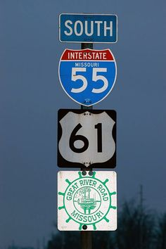 Missouri - U. S. highway 61, interstate 55, and Great River Road sign.