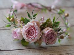 Pink Flower Hair Crown Wedding Hair Garland Spring Bridal