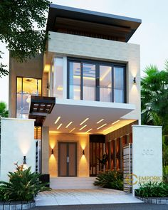 Herlina Private House Design - Sumatera Utara- Quality house design of architectural services, experienced professional Bali Villa Tropical designs from Emporio Architect. Narrow House Designs, Modern Small House Design, Modern Exterior House Designs, Small House Exteriors, Modern House Facades, Bungalow House Design, House Front Design, Minimalist House Design, Dream House Exterior