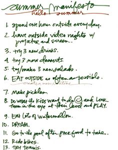 summer manifesto: LOVE this one...it's short and sweet. How many people REALLY do the ones with a hundred things on them?!