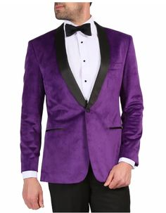 This jacket features a single button, a black satin shawl lapel, besom pockets, and side vents. The fabric is a beautiful to the touch velvet. #BlackJacket #PurpleJacket  #WeddingJacket #PromTux #WeddingTux #Tux #Wedding #Prom #DinnerJacket #Jacket Mens Dinner Jacket, Velvet Dinner Jacket, Shawl Collar Tuxedo, Custom Tuxedo, Prom Tux, Velvet Shawl, Wedding Jacket, Purple Jacket, Velvet Blazer