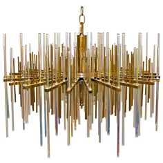 Rare Sciolari Italian Irridescent Glass Rod Chandelier | From a unique collection of antique and modern chandeliers and pendants  at http://www.1stdibs.com/furniture/lighting/chandeliers-pendant-lights/